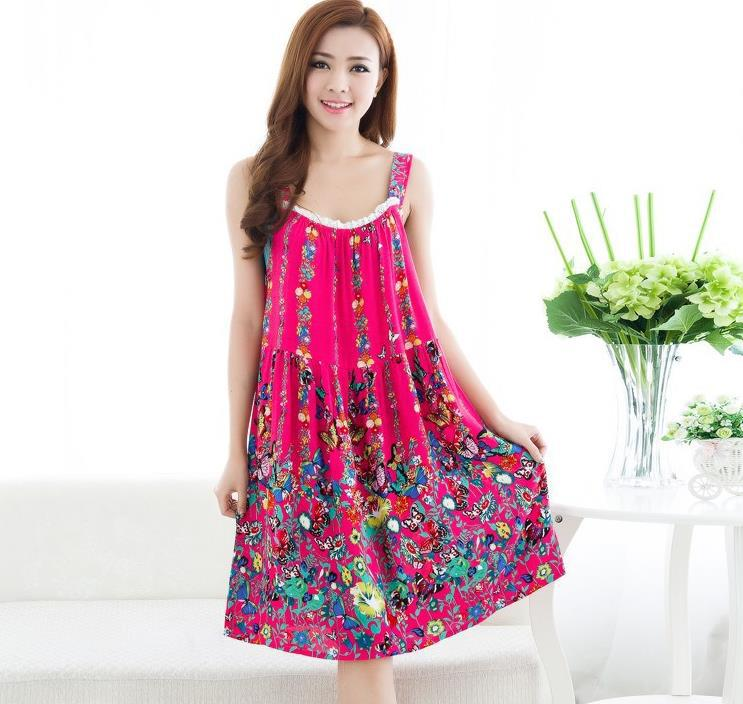Get Quotations · 2015 Women summer floral plus size cotton nightgowns  sleeveless sleepshirt knee-length nightdress casual night 18e15b3d2