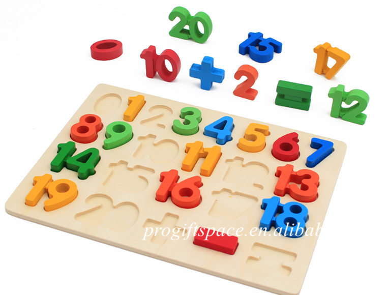 wholesale custom colorful souptoys games for kids wooden numbers letter shape jigsaw puzzle with block china manufacturer