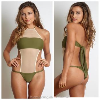 91d8515fb11 2016 Custom Wholesale Army Green monokini swimwear Mesh cut out one piece  swimsuit for women