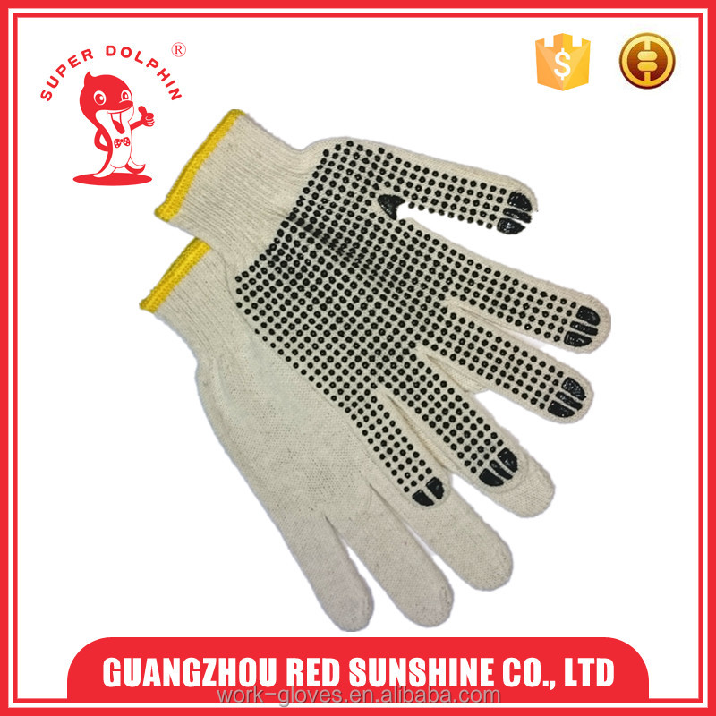 7 G white polyester pvc dotted gloves