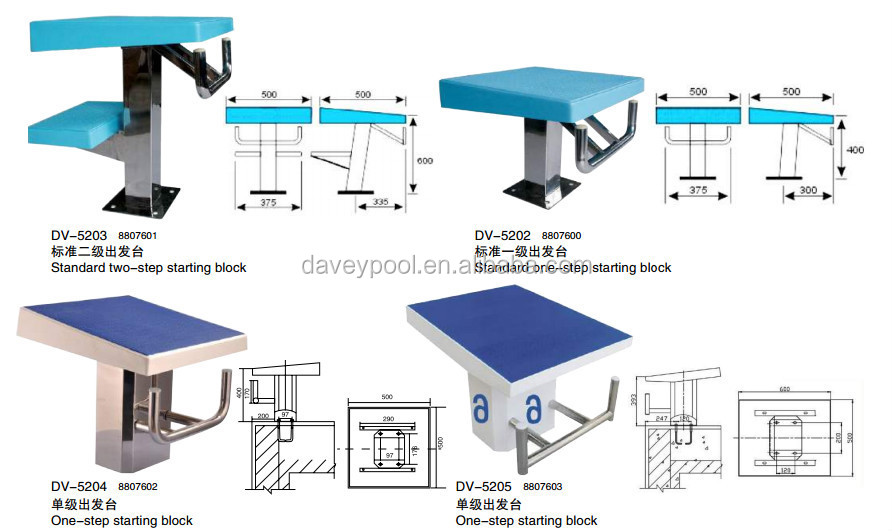 2015 bottom price manufacturer fiberglass olympic swimming start block for swim pool - Olympic Swimming Starting Blocks