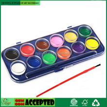 12 Color Watercolor Artist Paint Set with Plastic Palette Lid Case and Paintbrush