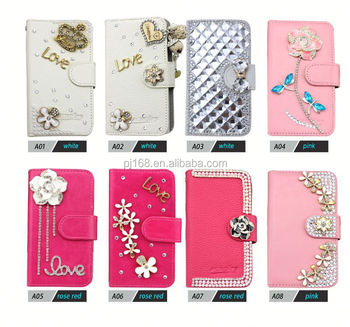 Bling diamond leather Case for Galaxy NOTE 4, for Galaxy NOTE 4 Mobile Phone accessories