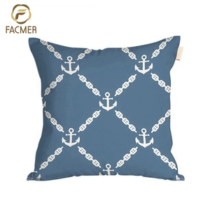 Wholesale Cheapest Comfortable Custom Print Blue Decorative Cotton Living Room Cushion