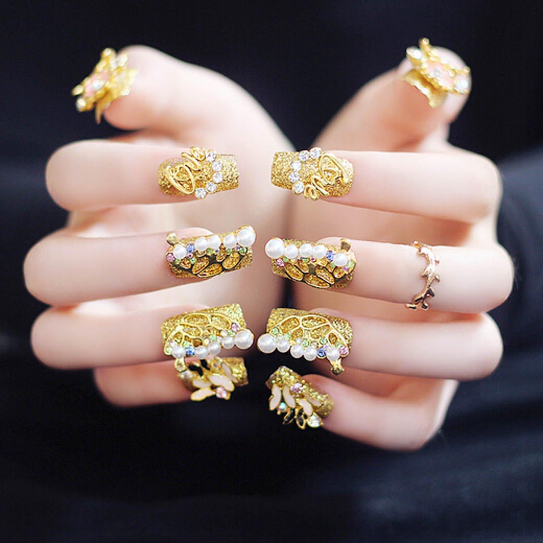 Get Quotations Bridalvenus 20 Pcs False Nail Vintage Chic Bridal Gold Frosted Glossy Fake Full Tips