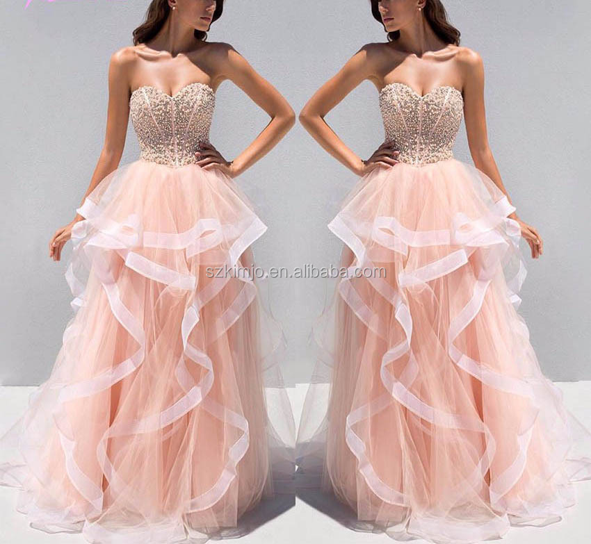 Fashionable Tiered Beaded Peach Prom Dresses Quinceanera - Buy Prom ...