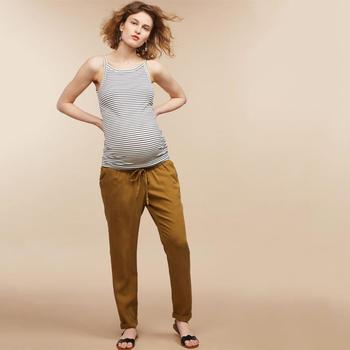 f0ff4993d2a56 Yellow Maternity Pants Clothing Women Fashion Cotton Trousers Under Belly  Drawstring Relaxed Loose Straight-Leg