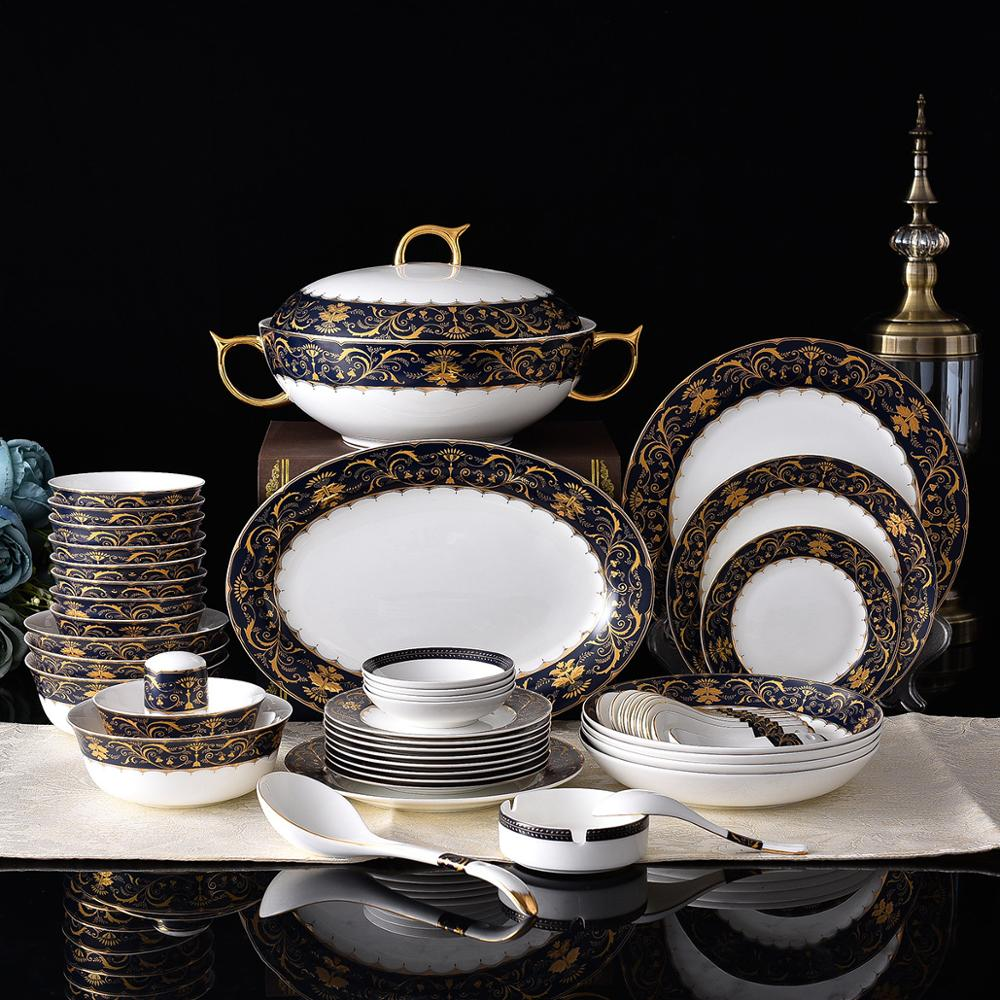 Royal European Luxury Ceramic Houseware Fine Bone China Dinnerware Set for Hotel