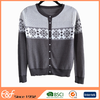 Fashion Clothes Wool Old Ladies Cardigan Sweater For Spring