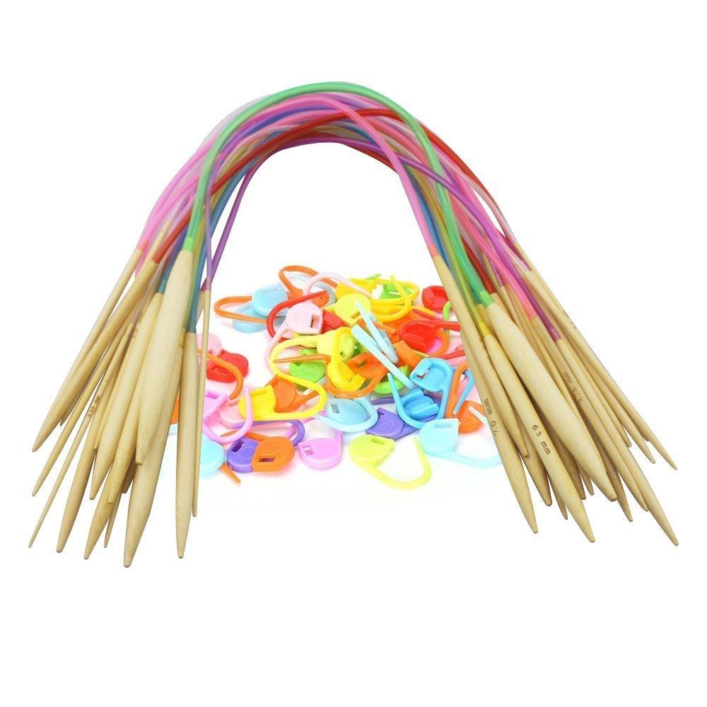 "Rainbowroseus 18 Sizes 16"" Length Bamboo Circular Knitting Needles Kit with Flexible Colorful Tube 2.0mm-10.0mm Including 100pcs Free Locking Stitch Markers"