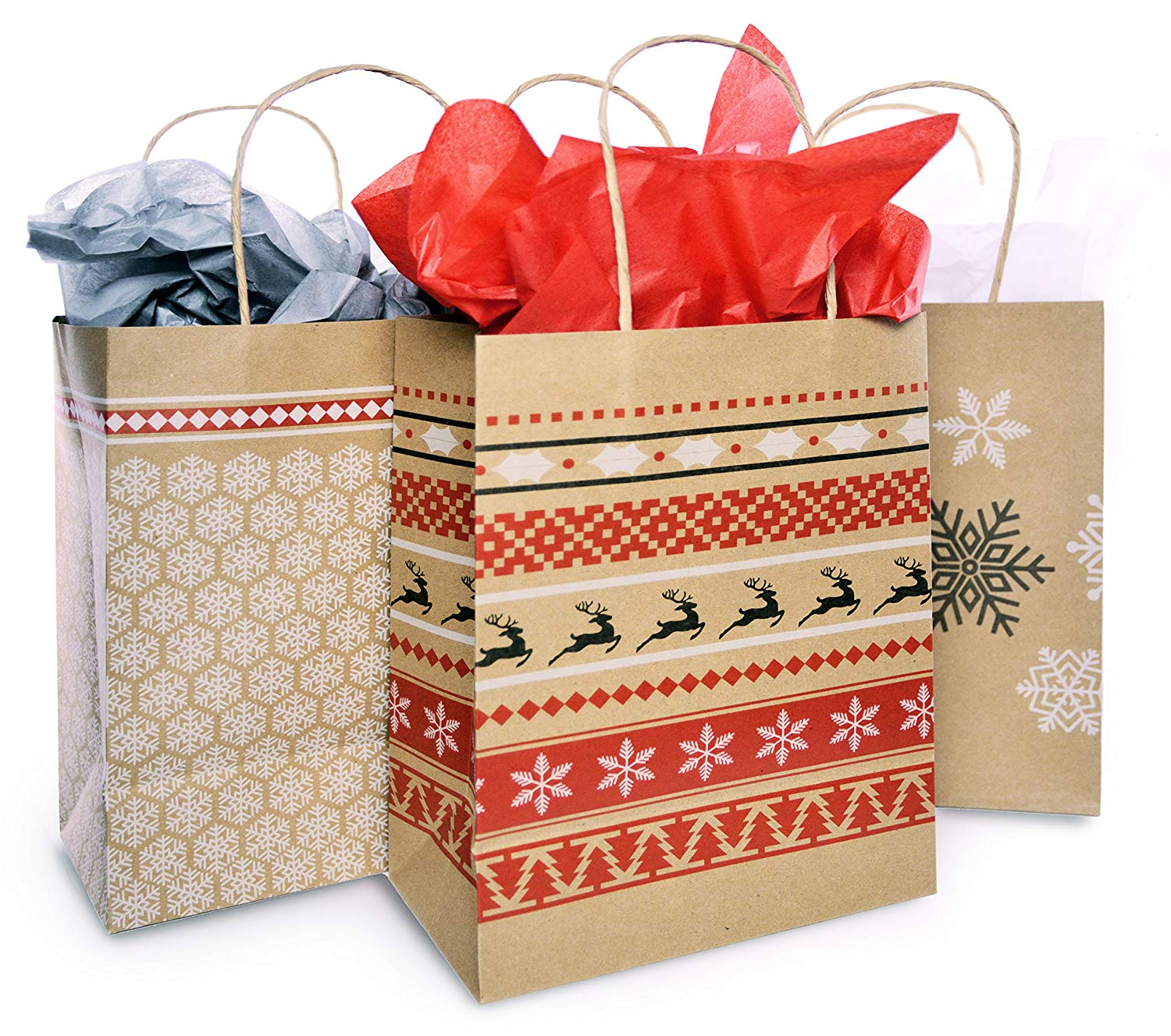 Get Quotations Christmas Gift Bag Set With Tissue Paper Included Red White Nordic Print