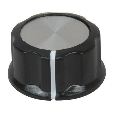 """Jameco Valuepro JK-901B Knob, 1/4"""" Shaft, Black/Aluminum with Set Screw (Pack of 4)"""