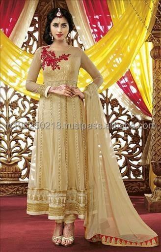 Indian Heavy Designer Salwar Kameez Suit Long Anarkali Neck Design ...