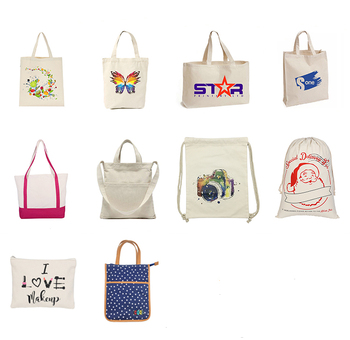 Customized cotton canvas  tote bag  no minimum with printed logo