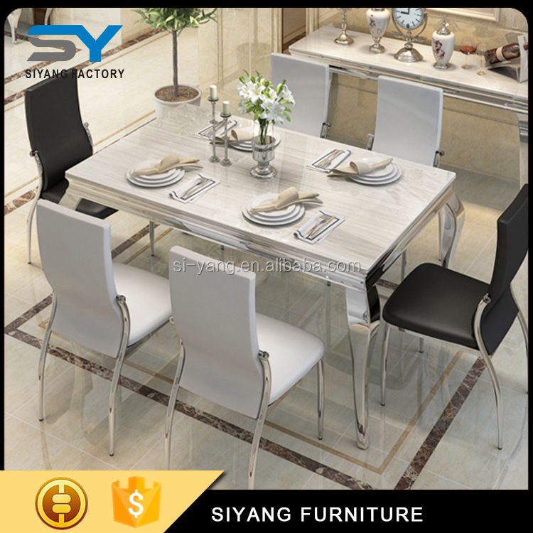 Metal mirror silver rectangle hotel banquet dining table set CT003