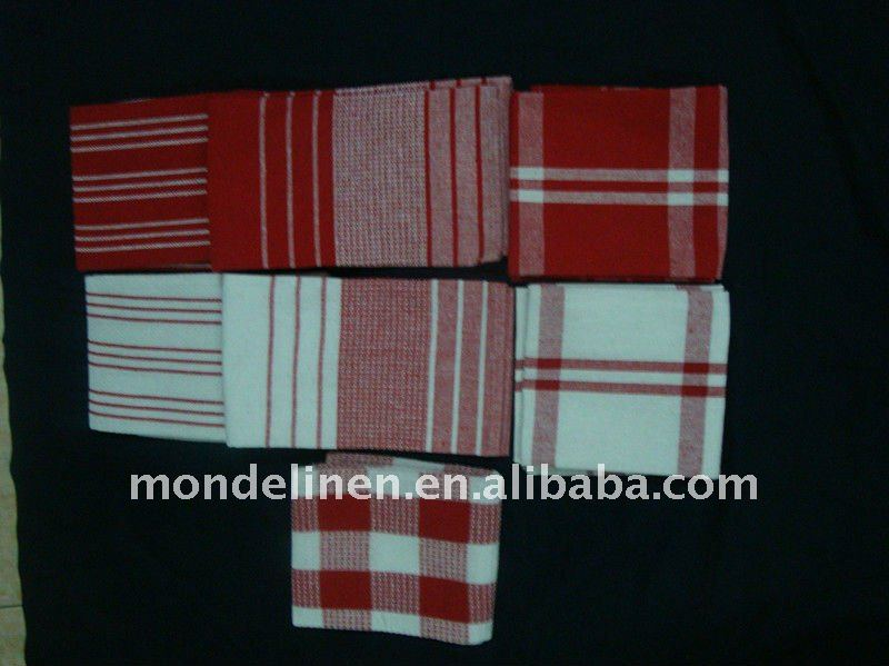 100% cotton Woven tea towel sets in various color