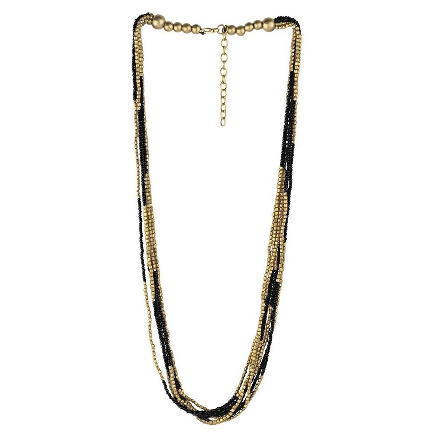 Joe Cool Bead String Necklace Bead 10 Multi-strand Gold With Colour (Black) Made With Glass by