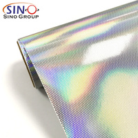 SINO Self Adhesive PVC Material Laser Rainbow Color One Way Vision Vinyl Film For Printing