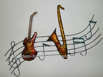 Handicrafts Wrought Iron Guitar Music Notes Musician Theme Art Metal
