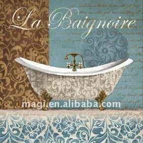 Vasca da bagno vintage stampa segni mestiere di legno - Stampe per bagno ...