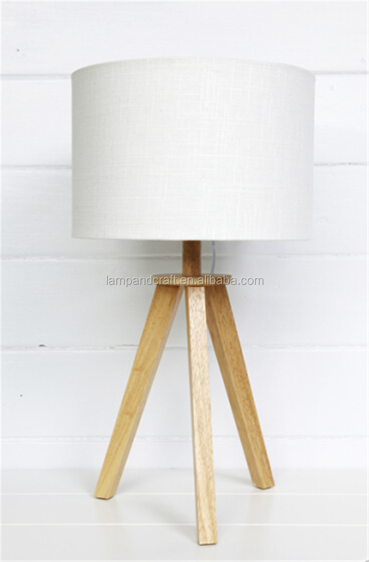 Gracious Natural High Quality Tripod Table Lamp With Off White ...