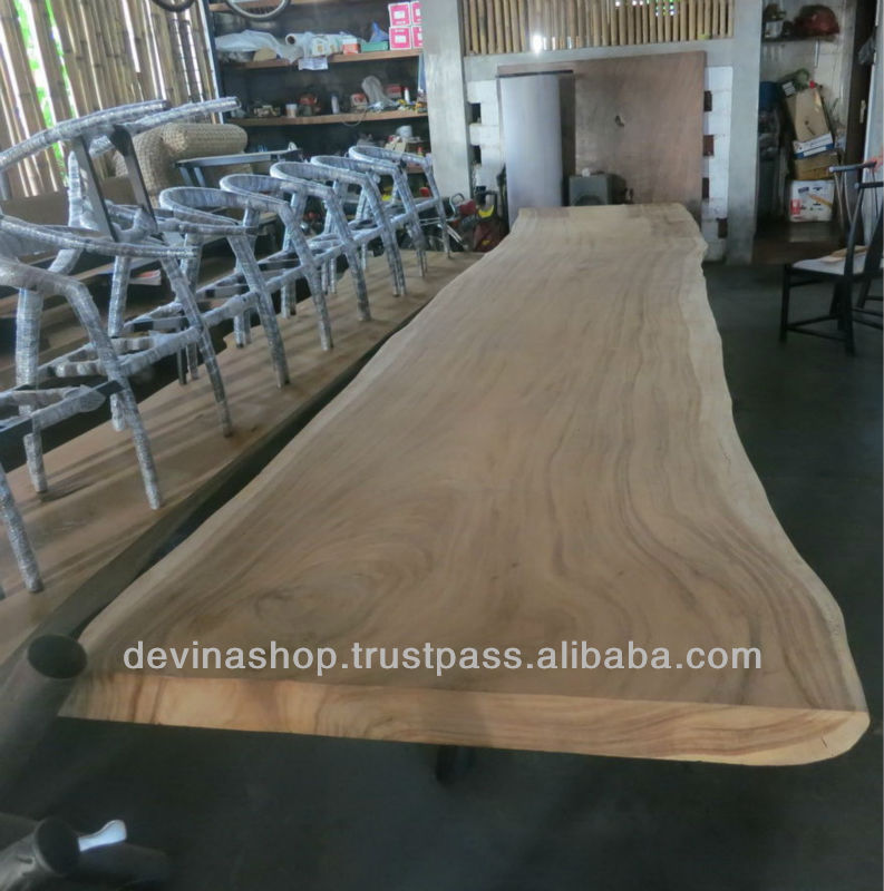 16 4 Ft Acacia Slab Wood Dining Table Of Suar Solid Natural Tables Exotic Product On