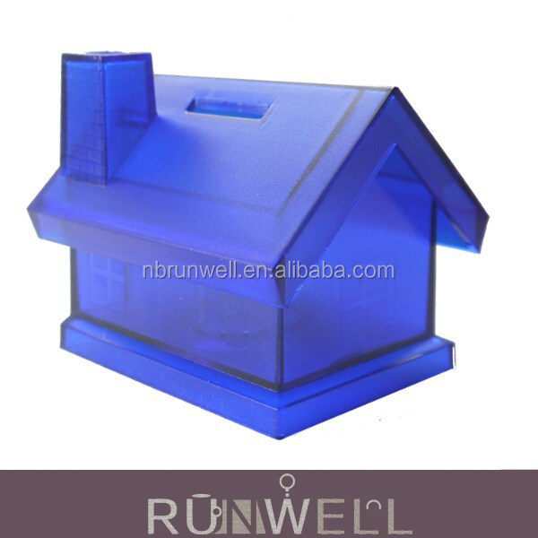 Promotion item plastic material coin saving bank house shaped money box