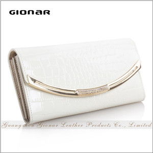 New Style Women Genuine Patent Shining Crocodile Leather Wallet