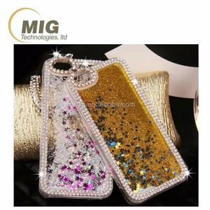 For Samsung galaxy S5 Colorful plastic quicksand glitter star liquid mobile phone case For Samsung S5