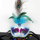 M-KQ Halloween Green Peacock Feather Masquerade Half Mask Party