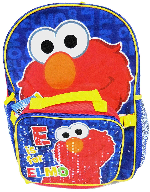 Sesame Street Elmo Large Backpack with Lunch Box (Sesame Street School Supplies Set)