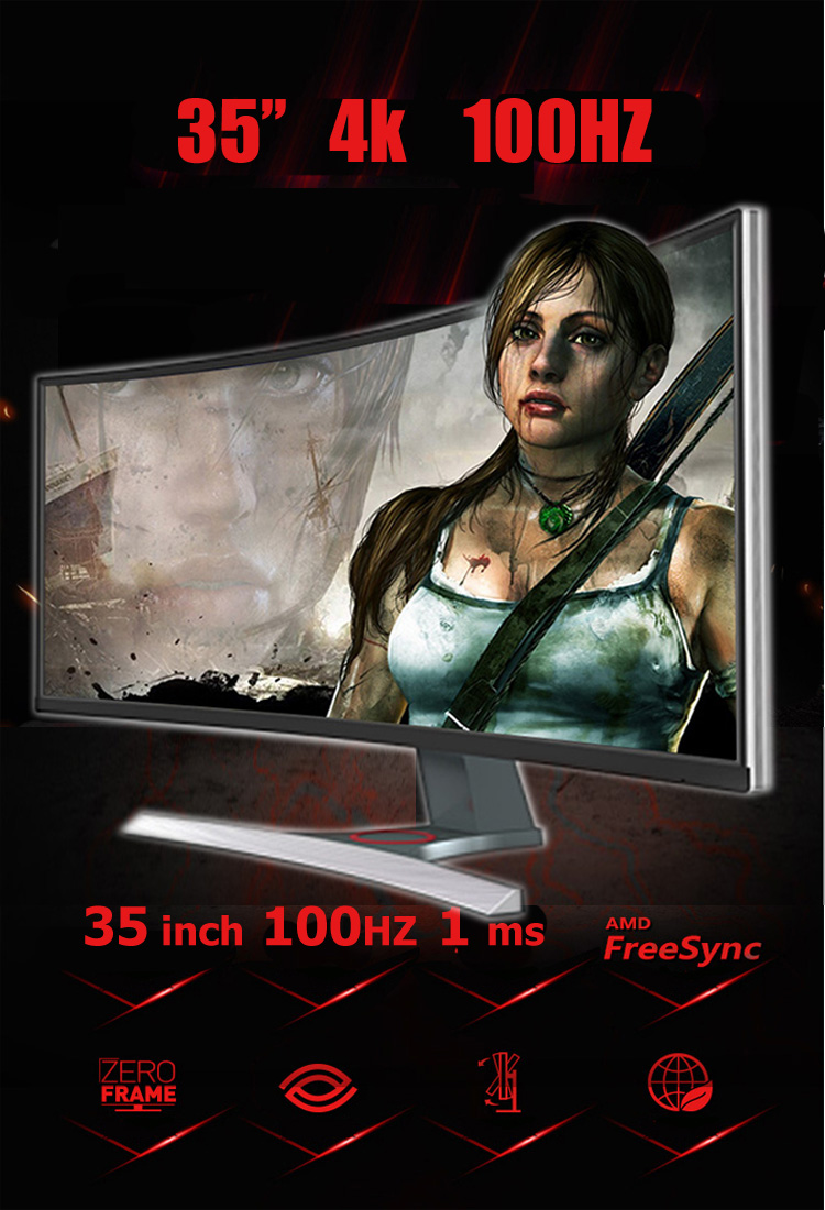 Super cool 360 degree rotation stand 21:9 4K 35 inch computer gaming monitor curved
