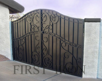 Decorative Double Wrought Iron Privacy Gate Forged With Steel Sheet Back People Can Not See Through