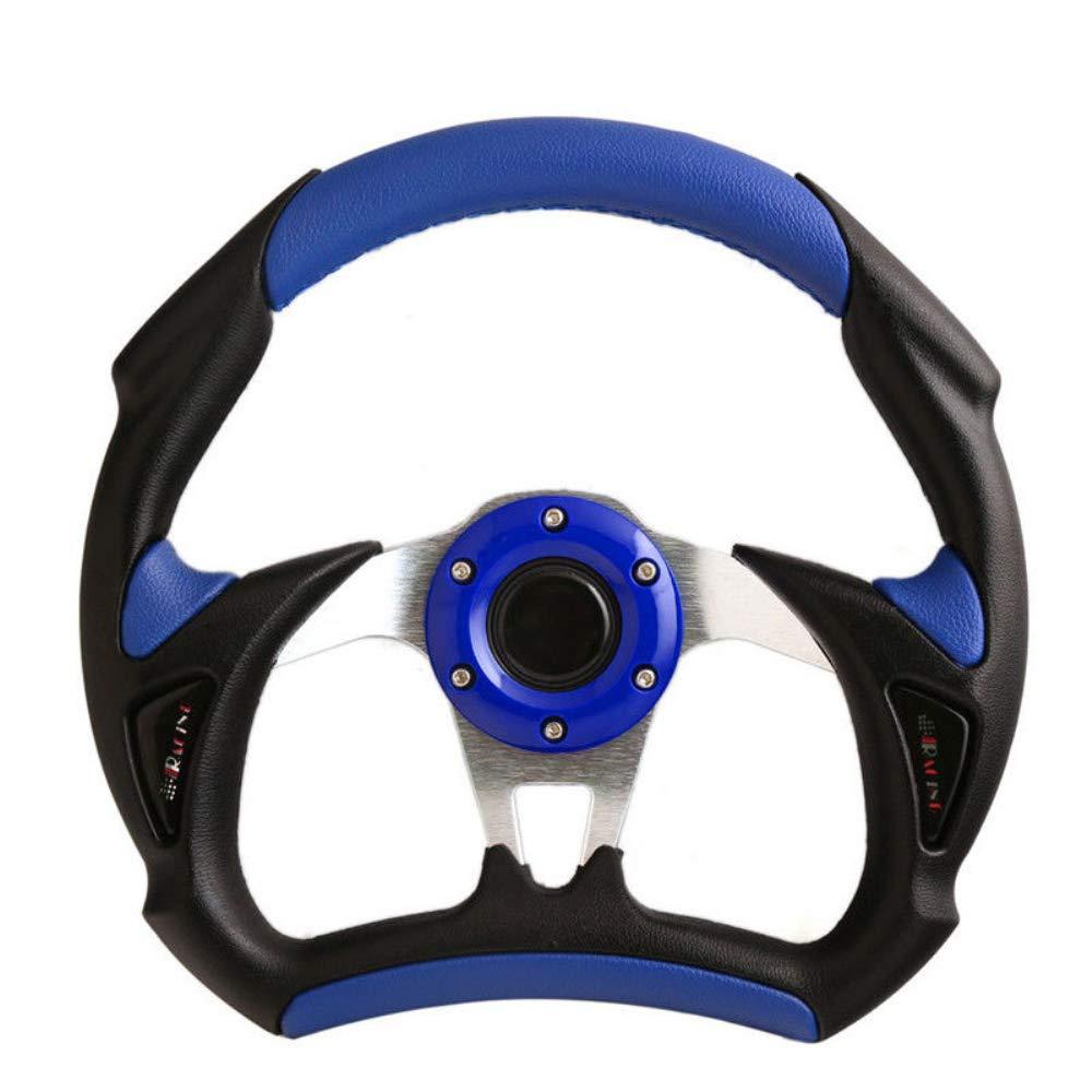 320mm 6 Bolt Steering Wheel Universal Custom Blue Horn Button