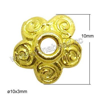 Zinc alloy jewelry findings, 10mm gold bead cap for jewellery making