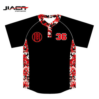 red digital camo baseball jersey