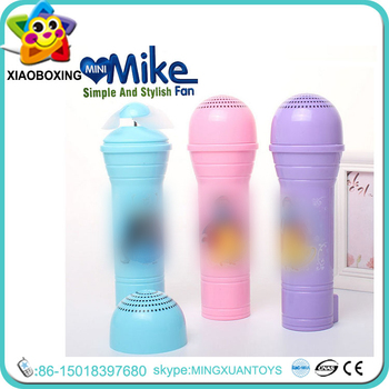 electric hand fan. novelty gift plastic mike design mini electric hand usb fan toys for sale