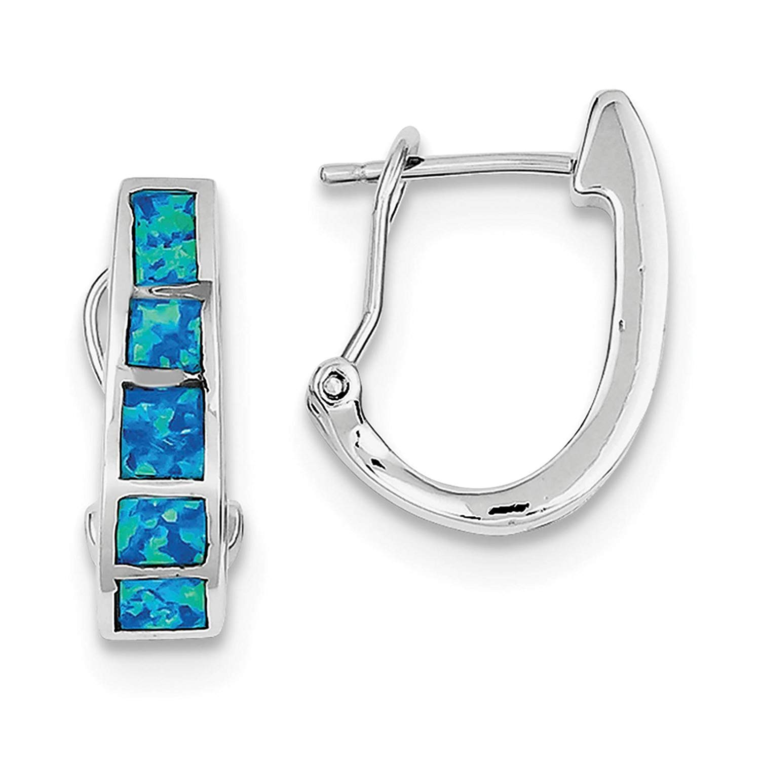 .925 Sterling Silver Blue Inlay Created-opal Squares Hoop Earrings