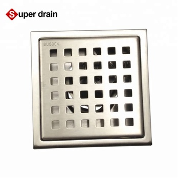 Square Grid french floor drain strainers deodorant hair catcher side outlet shower drain stainless steel anti-foul floor drain