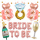 2019 bachelorette party kit supplies champagne bottle diamond rose gold confetti balloons for Bridal Shower decorations