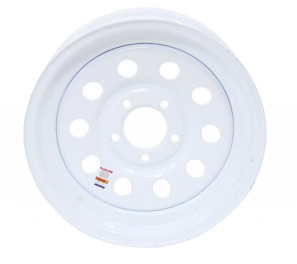 "eCustomRim Trailer Wheel Rim #5226 15x6 15"" x 6"" 5 Hole 4.5"" Cntr White Modular"