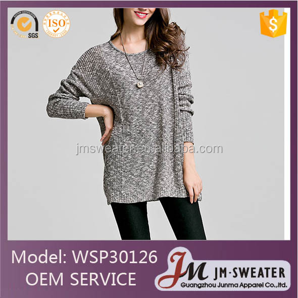 Plus size Batwing Sleeve O-Neck Women Pullovers cashmere Knit Gray Sweater