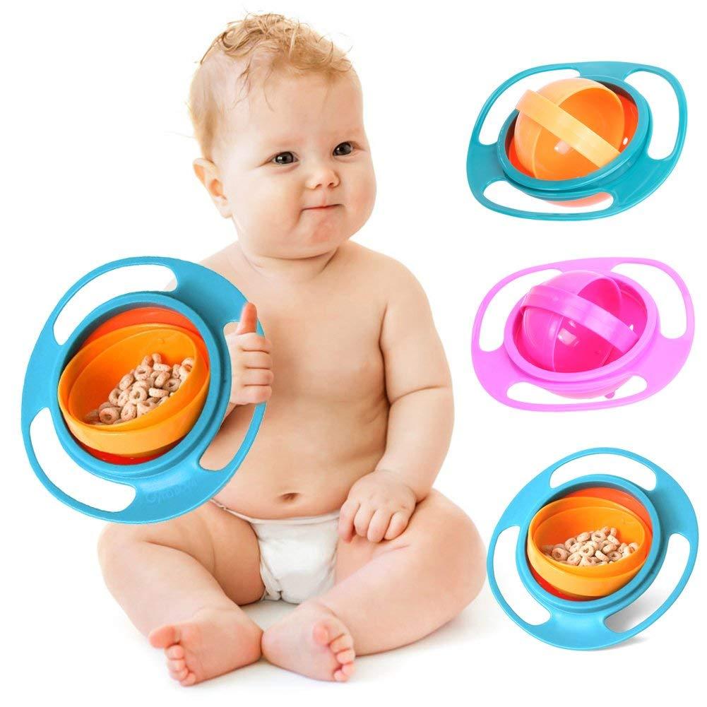 Baby Feeding Dish Cute Baby Gyro Bowl Universal 360 Rotate Spill-Proof Bowl
