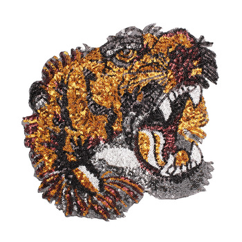 2018 Large Embroidery Sew On Sequin Tiger Patches