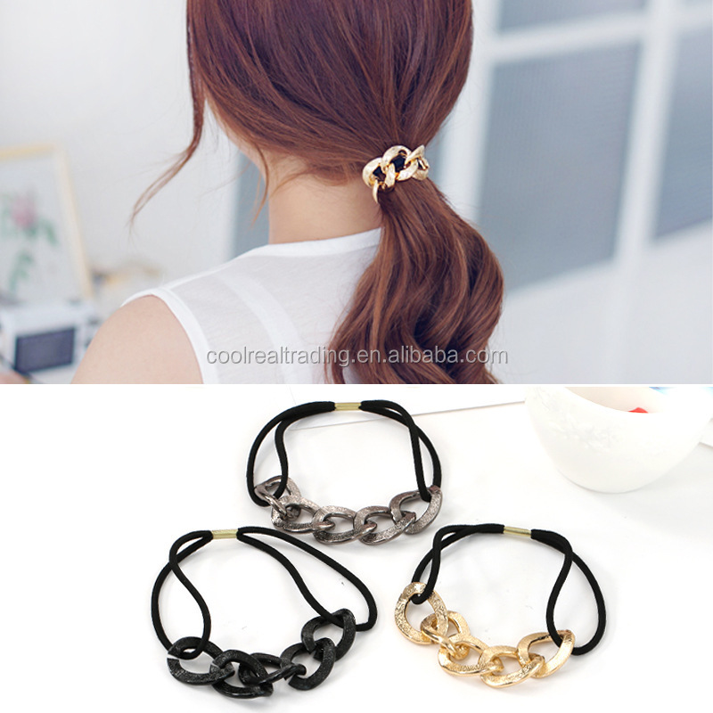 South Korea hair headdress personality metallic chain hair rope ring rubber band low price