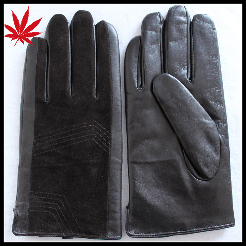Gentlemen black gloves leather with pigsuede and sheepskin combined gloves