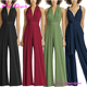 Wholesale Convertible Deep V Neck Waist Tie Sleeveless Bridesmaid Jumpsuits 2017 Women's Rompers
