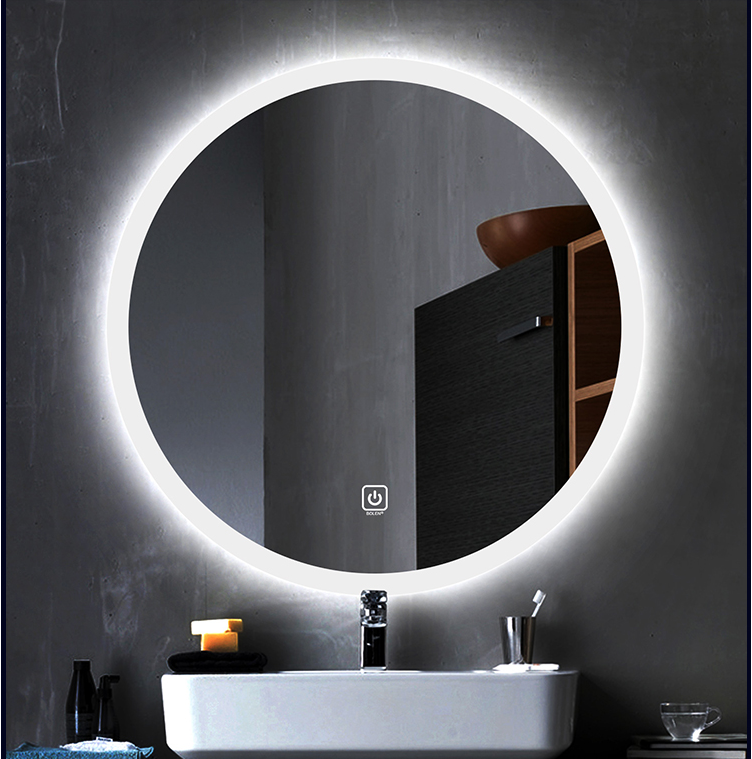 Round Shape Wall Mounted LED Lighted Touch Screen Bathroom Mirror Decor Wall Round