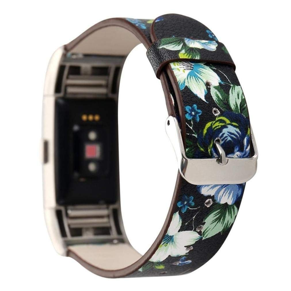 Blueseao Fitbit Watch Bands Charge 2, Cute Unique Handmade Flower Pattern Women Girls Fashion Floral Soft Leather Replacement Accessories Sport Bands Wristband Fitbit For Women