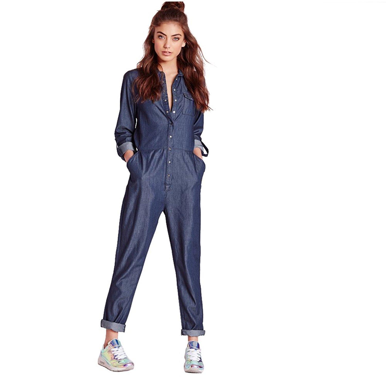 d6494c3c151a Fashion Winter Autumn Jumpsuits Women Long Sleeve Female Shirt Denim  Jumpsuits Loose Blue Ladies